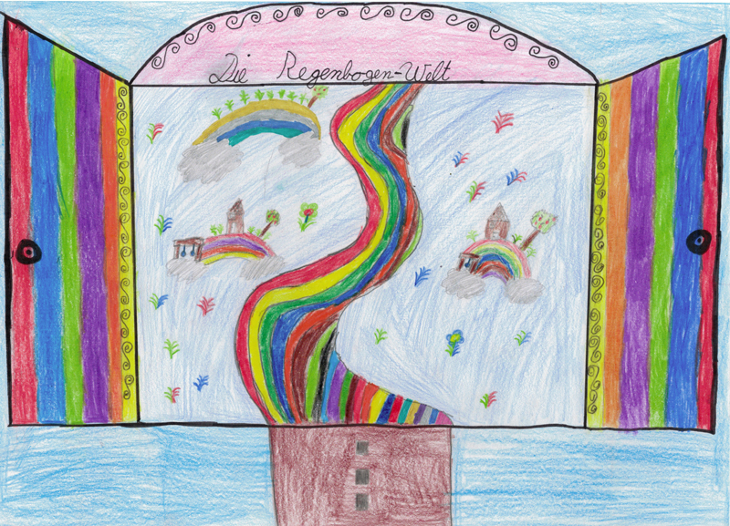 Lina N. (9 Jahre) aus Gerolstein, begeistert uns mit ihrer Regenbogenwelt