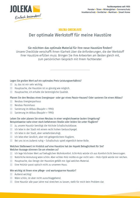 Checkliste Haustür Material