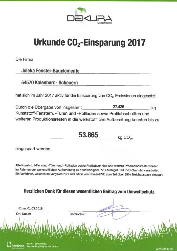 CO2 Einsparung