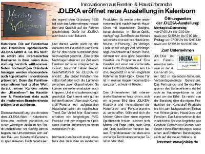 Eifelzeitung berichtet über neue JOLEKA Ausstellung