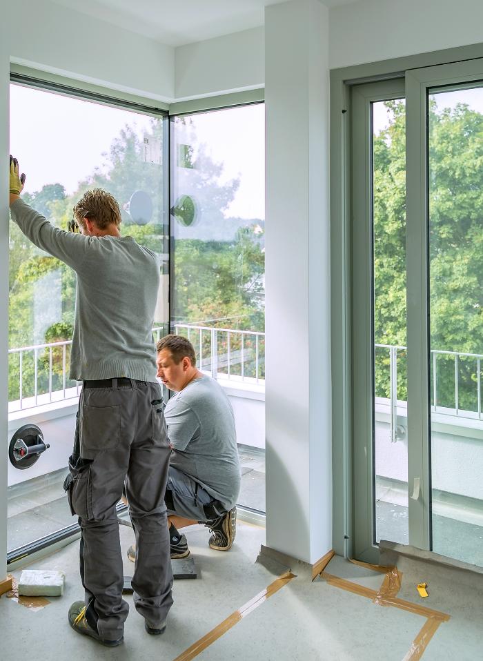 Montage Glaseckfenster