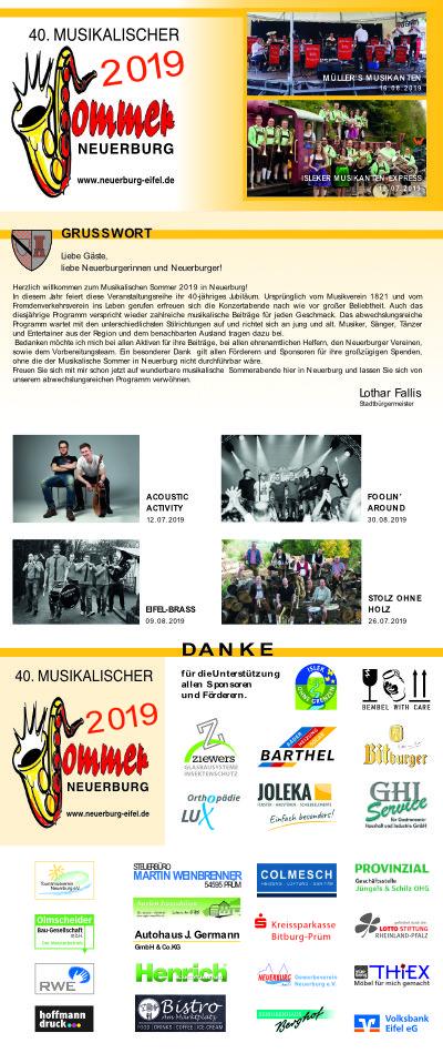 Programm Musikalischer Sommer