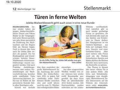 Pressebericht Malwettbewerb Wochenspiegel Oktober 2020