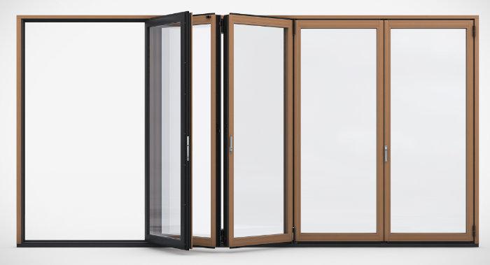 Combiline Holz- Alu- Glasfaltwand